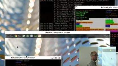 Kristian Høgsberg zeigt Remote-Fenster unter Weston.