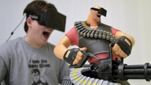 Oculus Rift mit Team-Fortress-2-Actionfigur