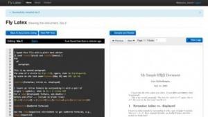 Flylatex: ACE-Editor mit LaTeX-Quellcode links, gerendertes PDF rechts