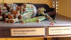 Telekom-Kabel, fotografiert im Museum für Kommunikation Hamburg