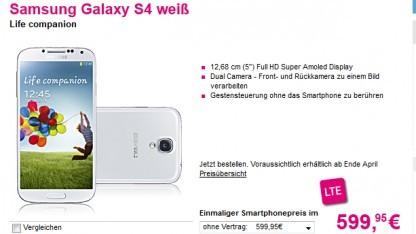 Samsungs Galaxy S4 kostet bei der Telekom 600 Euro ohne Vertrag.