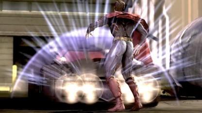 Superman im Angesicht des Batmobils