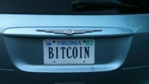 Nummernschild mit der Aufschrift Bitcoin