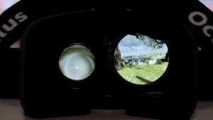 Ein Blick durch die Oculus Rift in die virtuelle Welt