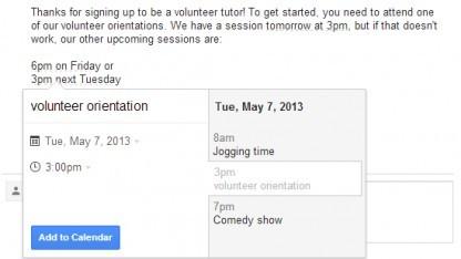 Bei Gmail können künftig Kalendereinträge direkt aus einer E-Mail heraus erstellt werden.