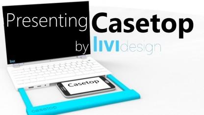 Das Casetop ist eine Laptop-Station für zahlreiche Smartphones.