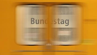 """""""Zug abgefahren"""" in der Station Bundestag in Berlin"""