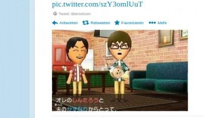 Ein schwules Pärchen im Spiel Tomodachi Collection: New Life