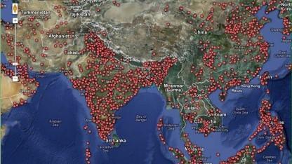 Die weltweit rund 30.000 Kraftwerke werden bei Google Maps dargestellt.