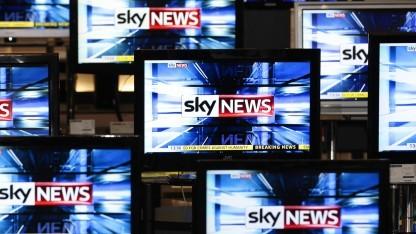 Der Sender Sky News in einem britischen TV-Geschäft