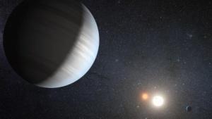 Eine Zeichnung vom Doppelsternsystem Kepler-47, das von zwei Exoplaneten umrundet wird.