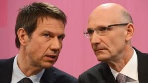 Telekom-Chef René Obermann und sein Nachfolger Timotheus Hoettges