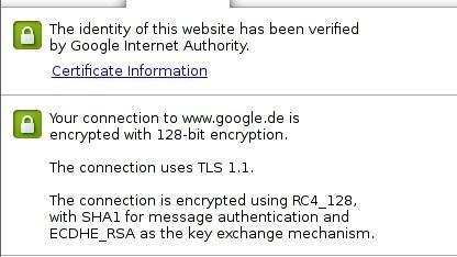 Sichere Verbindung mit ECDHE zu Google