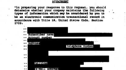 Ein redigierter National Security Letter