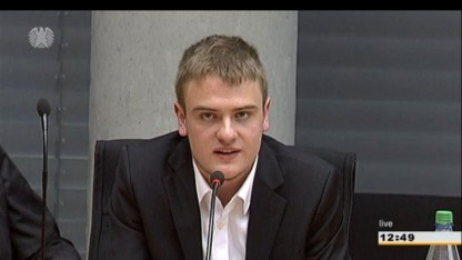 Petent Johannes Scheller bei der Anhörung im Bundestag