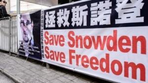 Unterstützungbanner für US-Informant Edward Snowden in Hongkong
