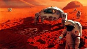 Astronauten im Ganges Chasma (künstlerische Darstellung aus dem Jahr 1995): Turnier von Konkurrenten