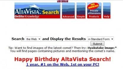 Frühe Altavista-Seite (Screenshot aus Archive.org): ausgefeilte Suchsyntax