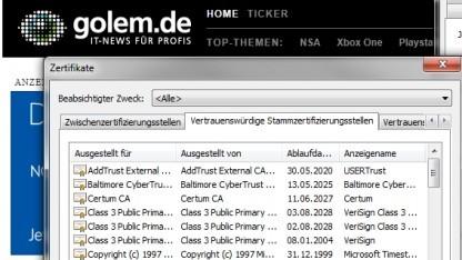 Zertifikate für den Internet Explorer unter Windows 7