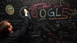 Das Google-Logo auf einer Schultafel