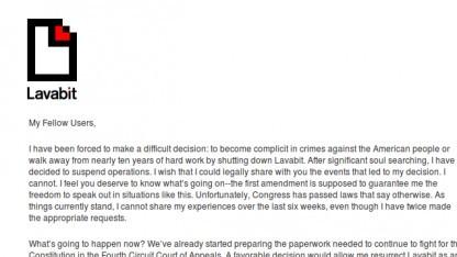 Lavabit schließt seinen verschlüsselten E-Mail-Dienst.