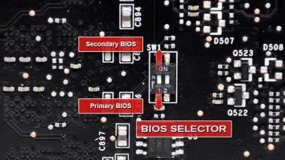Ein DIP-Schalter aktiviert das zweite Bios.