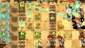 Im Tower-Defense-Spiel Plants vs. Zombies wehren schießende Blumen ganze Zombieherden ab (Quelle Golem.de)., Tower Defense