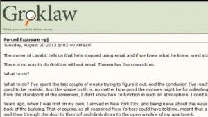 Abschiedsschreiben von Pamela Jones auf Groklaw.