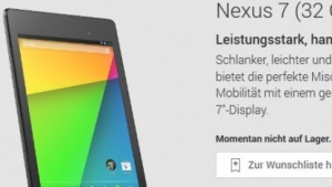 Neues Nexus 7 im Play Store ausverkauft