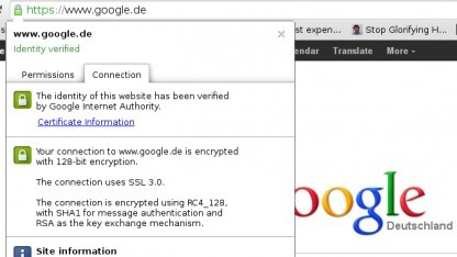 Verbindung mit Google nach Downgrade-Attacke