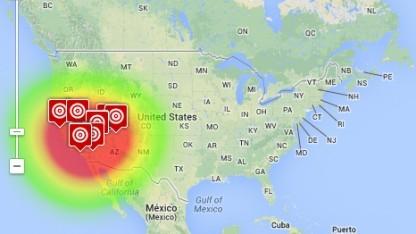 Auf der Webseite Geosocial Footprint lassen sich Tweets auf Geodaten analysieren.