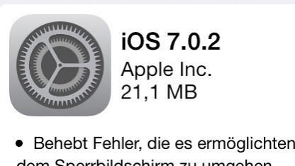 Apples iOS 7.0.2 schließt eine große Sicherheitslücke.