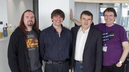 Die Gründer der C3S: Meik Michalke, Danny Bruder, Meinhard Starostik und Wolfgang Senges (v. l.) am 27. September 2013 in Hamburg: Die Gema hat keine Angst.