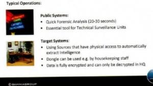 Auf Folien preist der Hersteller von Spionagesoftware Gamma Group seine Produkte an.