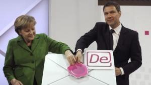 Angela Merkel und Telekom-Chef René Obermann