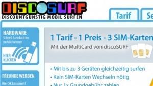 Discosurf Multicard: 3-GByte-Flatrate für 12,95 Euro mit drei SIM-Karten