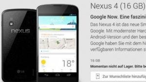 Nexus 4 mit 16 GByte im Play Store ausverkauft