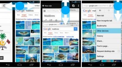 Neue Gesten in Chrome 30 für Android