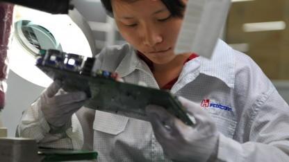 Arbeiterin in einer Fabrik von Foxconn