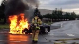 Ein brennender Tesla S