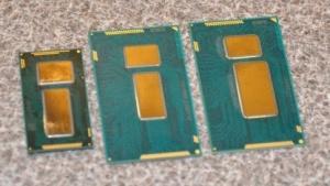 Von links: Broadwell-SFF-Package, Broadwell ULT/ULX im ULT/ULX-Package und Haswell ULT/ULX.