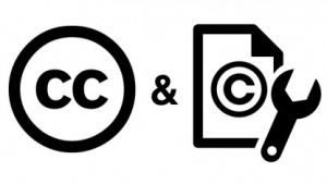 Dieses Logo der CC verdeutlicht Arbeiten am Urheberrecht.