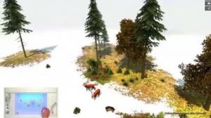 Durch Positionieren von Würfeln auf einer Plexiglasscheibe entsteht ein virtueller Wald.