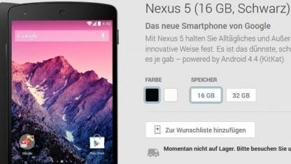 Schwarzes Nexus 5 mit 16 GByte ist ausverkauft.