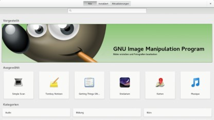 Startbildschirm von Gnome-Software