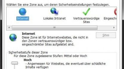 Passende Einstellungen in den Sicherheitszonen im Internet Explorer sollen Angriffe verhindern.