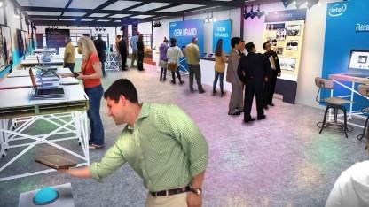 Animation des geplanten Aussehens eines Intel Stores