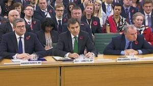 Die Chefs der britischen Geheimdienste: Andrew Parker (MI5), John Sawers (MI6) und Iain Lobban (GCHQ) (v. l. n. r.)