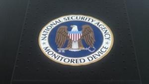 Protestaufkleber zum NSA-Überwachungsskandal