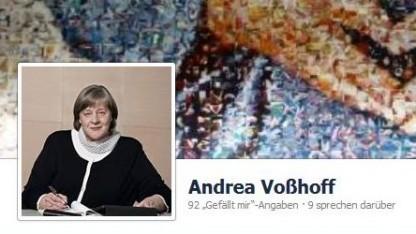 Im Hintergrund die Merkel-Raute: Voßhoffs Porträt-Foto auf ihrem Facebook-Eintrag.